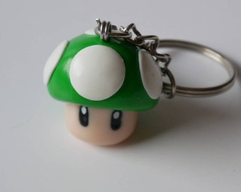 Up Mario mushroom keychain