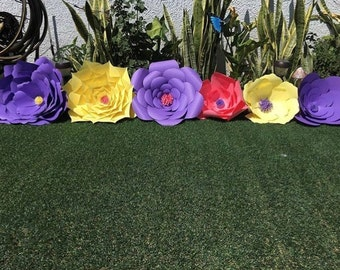 Purple, Yellow, Pink, Paper Flowers Decorations - Large Paper Flowers - Nursery Paper Flowers - Paper Flowers Wall Decor - Paper Flower Wall