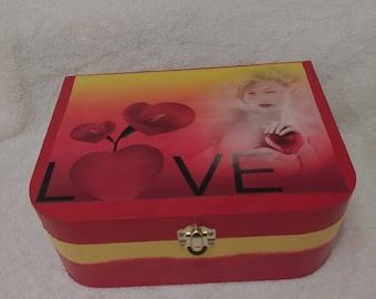 Love Hand-Painted Wooden Keepsake Box