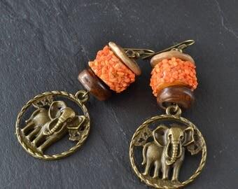 Earrings dangle earrings, ethnic style, handmade, paper, bronze charms beads, women gift, gift ideas