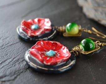 Earrings style Bohemian pendants in clay, handmade, jewelry, Boho, Hippie jewelry, summer style