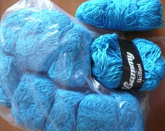 lot of 10 pelotes LAMMY - blue - cotton & viscose NEW