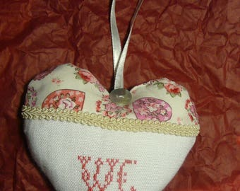 little toilet cushion to hang - handmade heart - WC
