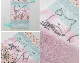 Doudou flat sensory embroidery Fox labels fabric back with pink minky.