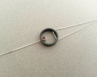 Carbon Pink Tourmaline ring, 925 sterling silver chain bracelet