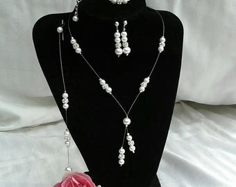 Set 4 pieces wedding bridal rhinestone and white pearls
