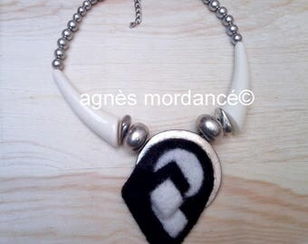"""""""Black and white"""" contemporary necklace - felted wool, silver - unique"""