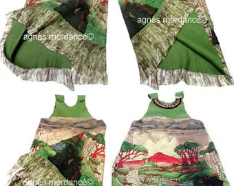 """Dress """"lady from Shanghai"""" silk nuno felted silk - chiffon silk nuno Merino - unique"""