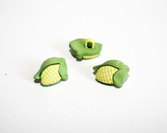 2 buttons ear of corn, set of 2 buttons, shank button