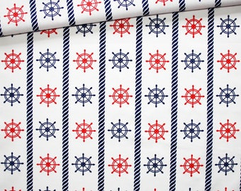Rudders, 100% cotton fabric printed 50 x 160 cm pattern rudders red and blue on white background
