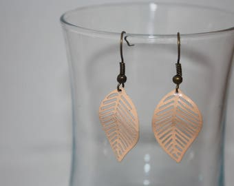 Beige rose filigree leaf earrings