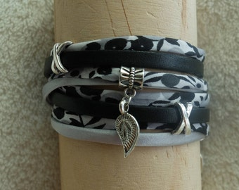 Double wrap bracelet black and white liberty silk and leather