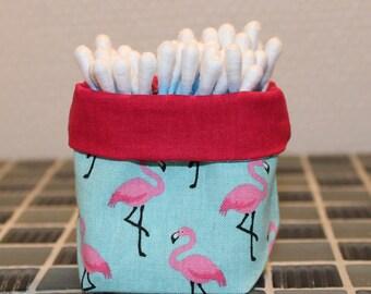 Q-tips - reversible - Flamingo pattern basket