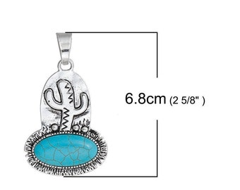 1 pendant boho Bohemian CACTUS 6.8x3.9cm within 15 days