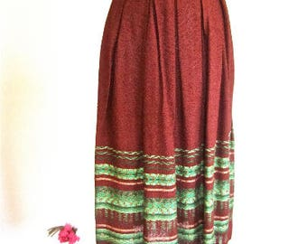 S M 40s 50s Skirt Brown Green Handwoven Ethnic Indian Latin Gold Lurex Pleated Resort Small Medium