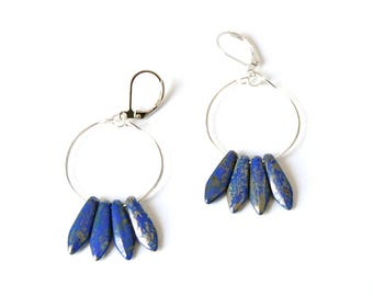 Shaman - Silver drops earrings Navy Blue