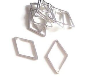 Set of 10/20 diamonds gunmetal connectors, 24x14mm, closed spacer rings - U2/U4