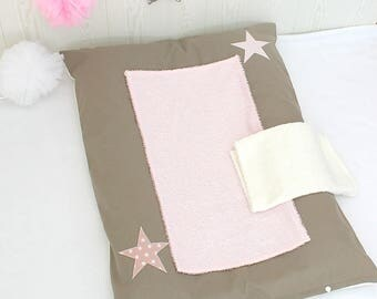 Changing pad cover, pink and taupe color