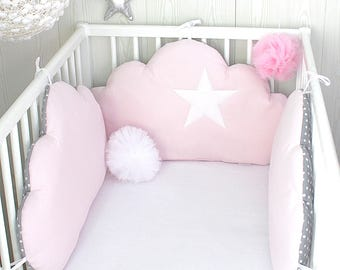 Baby cot bumpers for 70cm wide, 3 cloud cushions, pale pink, and grey with white spots