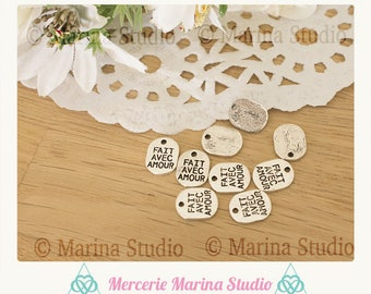 10 charms made with love 10x8mm