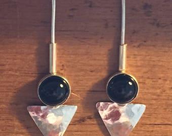 Sterling Silver and Black Onyx drop Earrings