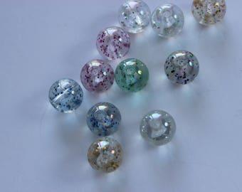 Acrylic Glitter Beads, 10mm Plastic Glittery Beads, Destash