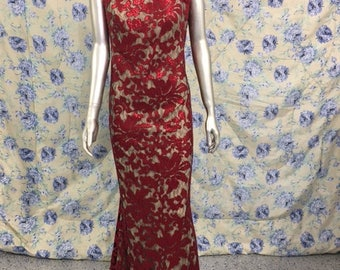 Vintage Red and Gold Jacquard Mother of the Bride Dress Sz 10