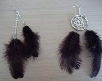 Dream catcher earrings with brown feathers
