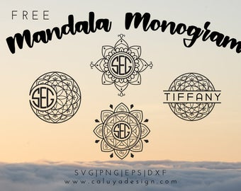 FREE SVG & PNG Link | Mandala Monogram Cut Files, svg, png, dxf, eps | Commercial Use | circuit, cameo silhouette | yoga monogram Clipart