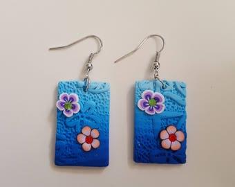 Polymer clay rectangular earrings
