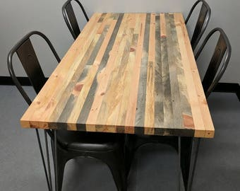 Salvaged Blue Pine Butcher Block Table