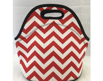 C.C. Neoprene Lunch Bag | Insulated Lunch Tote | Lunch Box | Office lunch bag | Lunch Bag Insulated | Teacher Gift Nurse Gift | Red Chevron