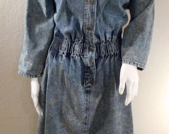 80's Acid Wash Denim Dress, quarter sleeve, Mizz Lizz brand, size medium 6-8,