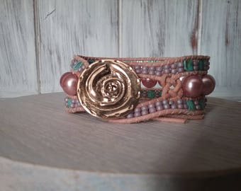 Pink and turquoise glass beads and natural leather Cuff Bracelet