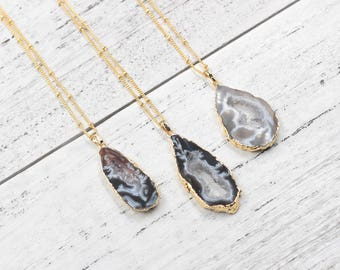 Druzy Necklaces With Satellite Chains For Bridesmaids Jewelry Party Gift Natural Gemstone Necklaces