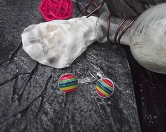Small Stud Earrings silver tone hooks and cabochon acrylic with multicolored stripes (red, orange, green, blue, yellow)