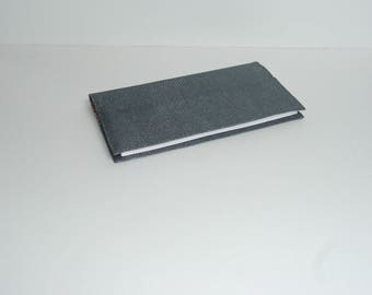 Dark grey coated cotton with pink cotton print checkbook