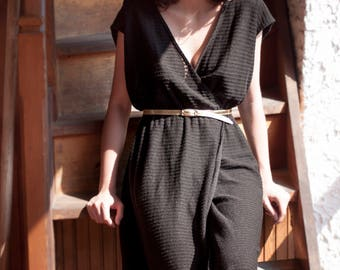 80's Black jersey long dress