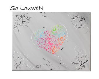 LIFE in color 2 on 1 canvas painting in acrylic paint, gray, blue, green, pink, orange, white and black, silver glitter