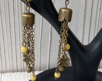 Bronze pearl earrings with cracked agate