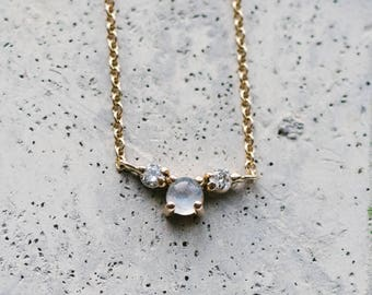 14kt Gold Moonstone And Diamond Necklace | dainty necklace | Solid Gold Necklace | Fine Dainty Necklace | Layering necklace | Diamonds