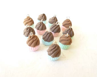 "Set of 12 gourmet ""cupe cake"" charm"