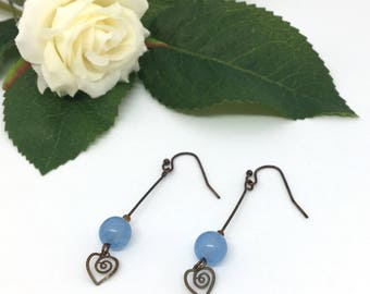 Blue earrings, Mothers Day Gift for Her, Mum, Wife, Sister, Daughter, Birthday, Best Friend, Present, Quartz and Antique Copper Earrings