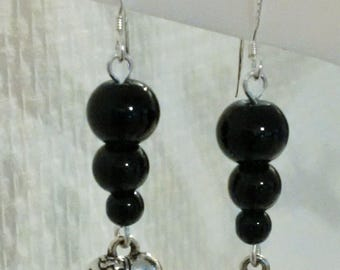 dangling earrings - silver hooks - black beads - women jewelry - women silver - handmade jewelry earrings