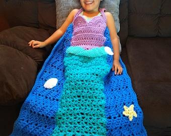 Mermaid Princess Dress Blanket, Mermaid Blanket Crochet Pattern, Crochet Princess Dress, Crochet Mermaid Blanket, Toddler Crochet Pattern