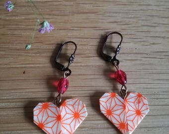 Orange origami heart earrings