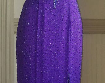 1990's Alyce Designs Purple Beaded Gown with Cutouts