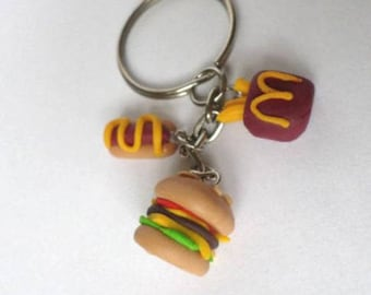 Key-hamburger, hotdog and fries in Fimo