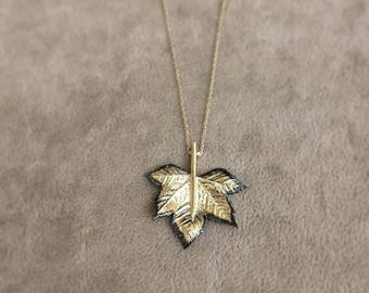 Hand-made Gold Leaf Necklace/Gold Necklace Available in 14k Gold, White Gold or Rose Gold
