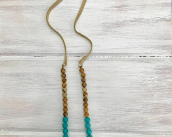 Deer Antler & Turquoise Necklace, Genuine Leather, Wood Beads